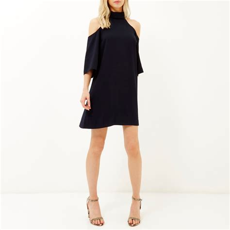 cold shoulder swing dress river island navy cold shoulder swing dress in blue navy