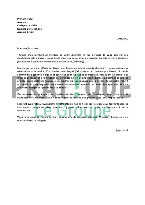 Lettre De Motivation De Moniteur Educateur Lettre De Motivation Stage Moniteur Educateur Document