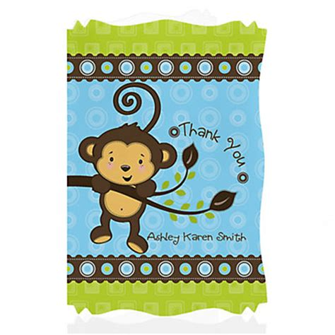 monkey baby shower monkey boy personalized baby shower thank you cards