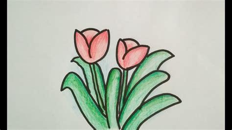 gambar bunga  pensil  mudah gambar bunga