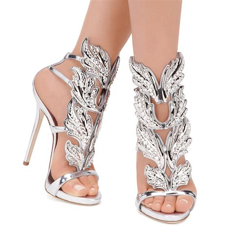 Stiker Wing Shoes giuseppe zanotti silver leather wing decal kanye west edition stilettos in metallic lyst