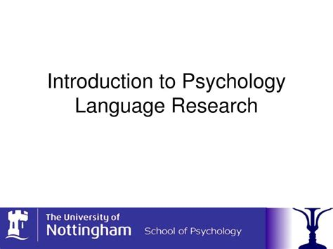 Introduction To Psychology ppt introduction to psychology language research