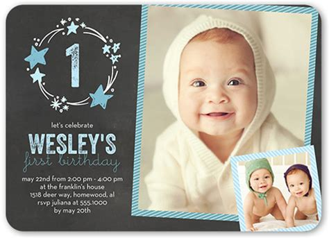 1st birthday invitation cards sles stellar birthday 5x7 boy birthday invitations shutterfly