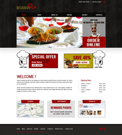 Restaurant Fast Food Takeaway Pizza Website Templates Indian Restaurant Website Templates