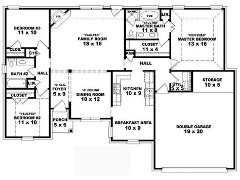 4 Bedroom One Story House Plans Residential House Plans 4 Residential Home Blueprints