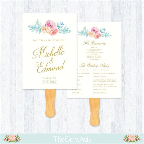 Ceremony Cards Templates by Wedding Fan Program Template Floral Watercolor Rustic
