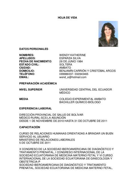 Modelo De Curriculum Vitae Medico General Curriculum Wendy