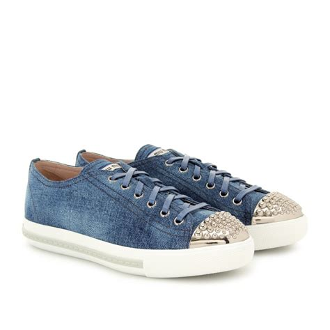 blue and sneakers miu miu denim sneakers in blue lyst
