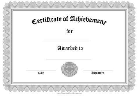 word template certificate of achievement 9 printable award certificates blank certificates