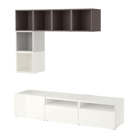 besta eket best 197 eket cabinet combination for tv white high gloss