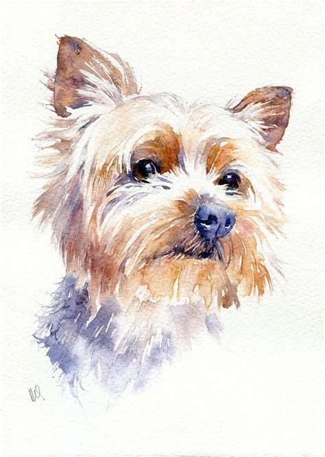 Original Yorkshire Terrier   original watercolour pet painting yorkshire terrier dog
