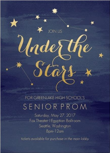 js prom layout watercolor constellation prom invitation pinteres