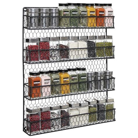 Spice Rack For Large Containers 4 Tier Black Country Rustic Chicken Wire Pantry Cabinet