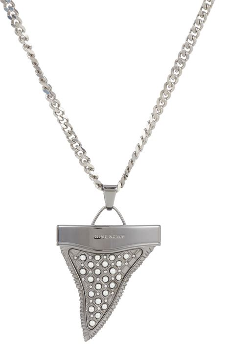givenchy tigeriron shark tooth pendant necklace in silver