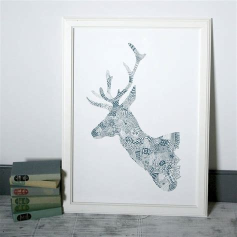 doodlebug orwell doodle deer original screen print large by orwell and