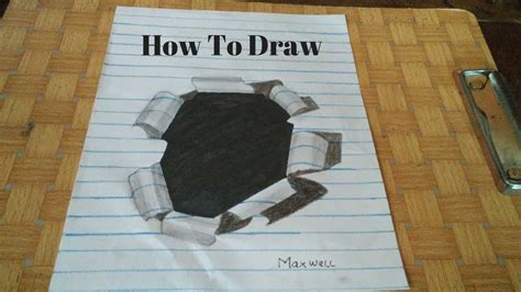 cara membuat gambar 3d lubang cara menggambar lubang 3d di kertas bergaris youtube