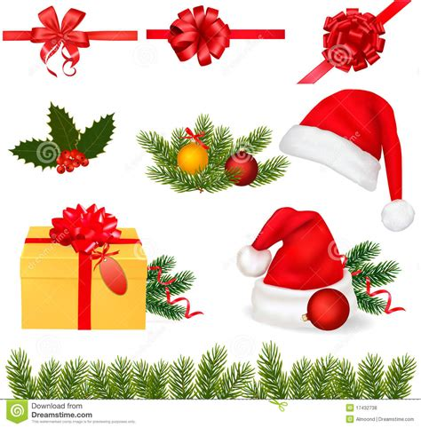 images of christmas objects set of christmas objects vector stock vector image