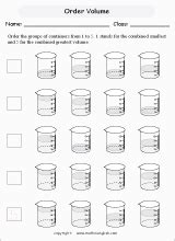 use the beakers to measure the volume in liters and