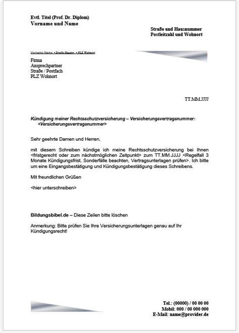 rechtsschutzversicherung kuendigen kuendigungsschreiben