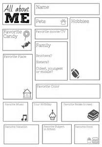 all about me template a free printable for the day of class new class