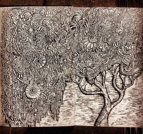 doodle draw design zentangle pattern tree drawing by nikitagrabovskiy on