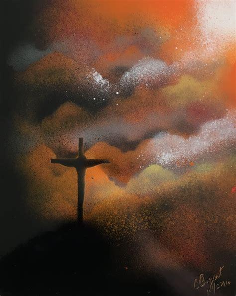 spray painter harolds cross landscape sunset spray paint cross christian
