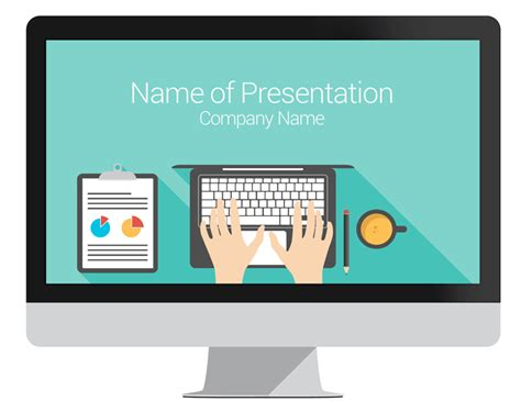 computer powerpoint template flat design
