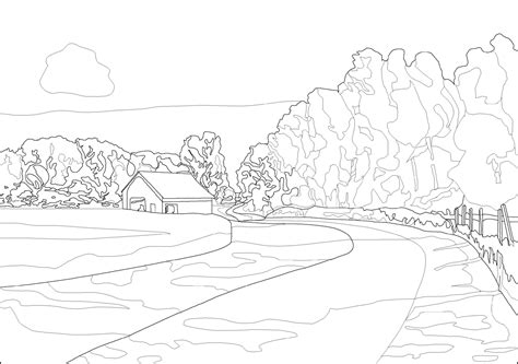 coloring pages for adults scenery landscape coloring page 15 printable landscape coloring