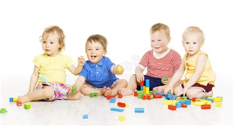 Children Group Playing Toy Blocks Small Kids On W Stock Image Image Of Attractive Holding Small Children Images