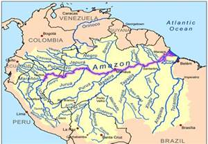 Where does the amazon river start map