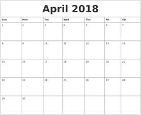 Calendars For April Calendars