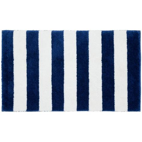 Blue And White Bathroom Rugs Garland Rug Stripe Indigo Blue White 21 In X 34 In Bath Rug Ba300w021034t9 The Home Depot