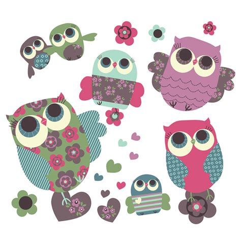 owls removable fabric wall stickers