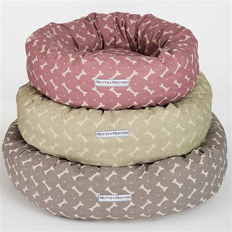 donut dog bed m h bone print donut dog bed by mutts hounds notonthehighstreet com