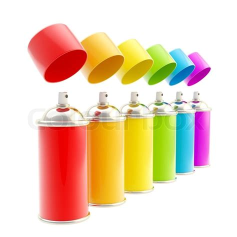 color spray rainbow colored spray color cylinders isolated on