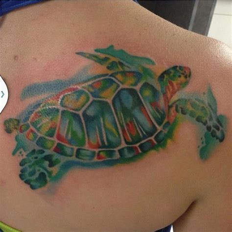 watercolor tattoo florida turtle watercolor done by bodytech tattooing