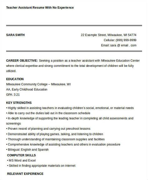 Resume Experience Exles by Resume Exles For Teachers No Experience 28 Images