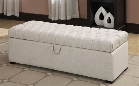 White Storage Bench White Tufted Storage Bench Coaster 500998