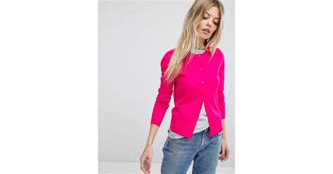 Button Clutch From Oasis by Lyst Oasis Button Up Cardigan In Pink
