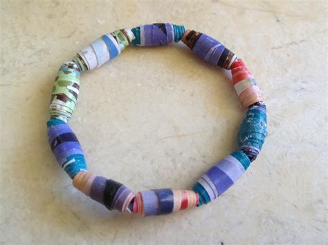 Paper Bead Craft - recycled bead bracelet magazine paper