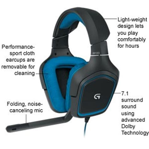 Logitech Headset Gaming G430 Berkualitas logitech g430 7 1 dts headphone x and dolby surround sound gaming headset for pc playstation 4