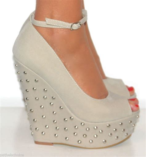 Sepatu Formal Wedges Mengkilapglossy Wedges Formal Shoes peep toe studded wedge high from pathelschoice on