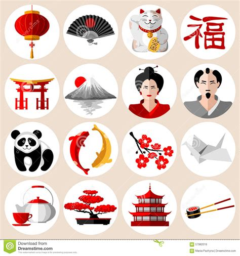flat icon design japan japanese icons set stock vector image 57982016