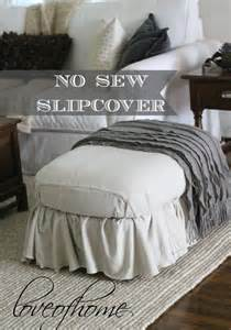 No Sew Ottoman Slipcover No Sew Ottoman Slipcover Using Painter S Drop Cloth Of Home