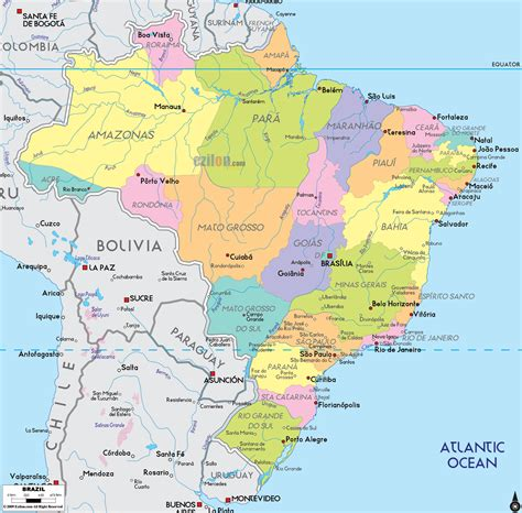 brazil map political map of brazil ezilon maps