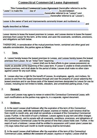Free Connecticut Commercial Lease Agreement Template Pdf Word Free Commercial Lease Agreement Template Word