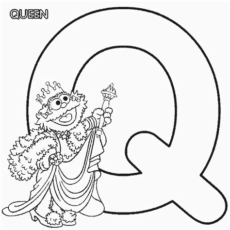 abc letter q queen sesame street zoe coloring page