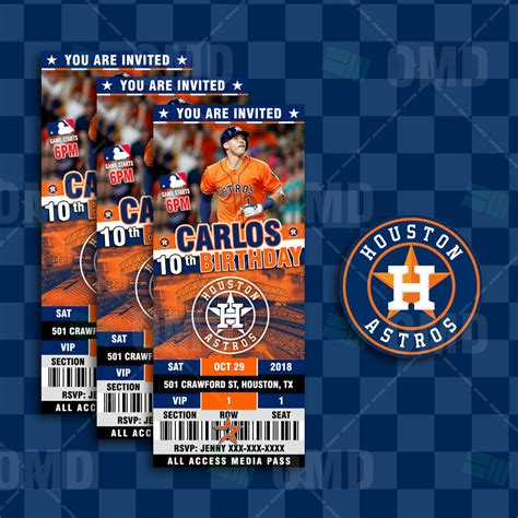 houston astros ticket style sports party invitations