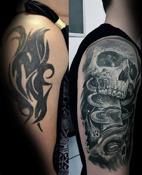 tattoo cover up ideas for arm before and after mens cover up skull arm tattoo ideas