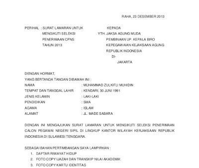Format Surat Lamaran Cpns Kemendikbud by Contoh Surat Lamaran Kerja Cpns Kejaksaan Agung Resmi Dan